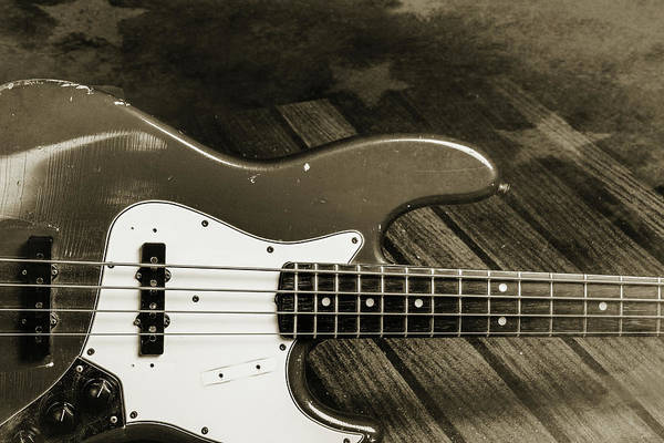 Photograph - 358.1834 Fender Red Jazz Bass Guitar In Bw by M K Miller