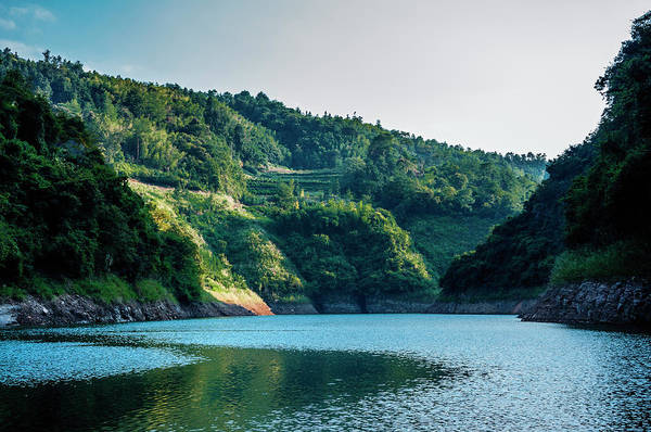 Photograph - The Mountains And Reservoir Scenery With Blue Sky by Carl Ning