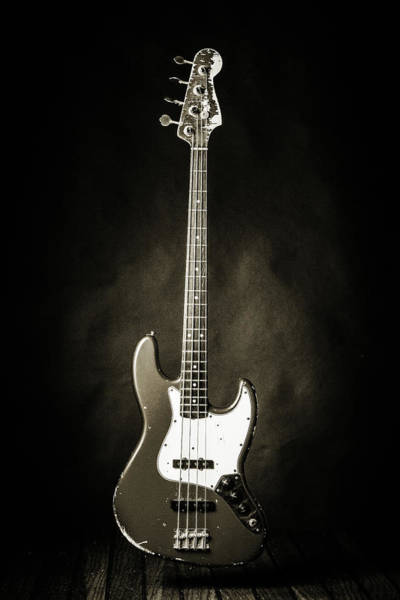 Photograph - 366.1834 Fender Red Jazz Bass Guitar In Bw by M K Miller