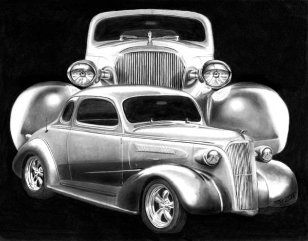 Chevrolet Drawing - 37 Double C by Peter Piatt