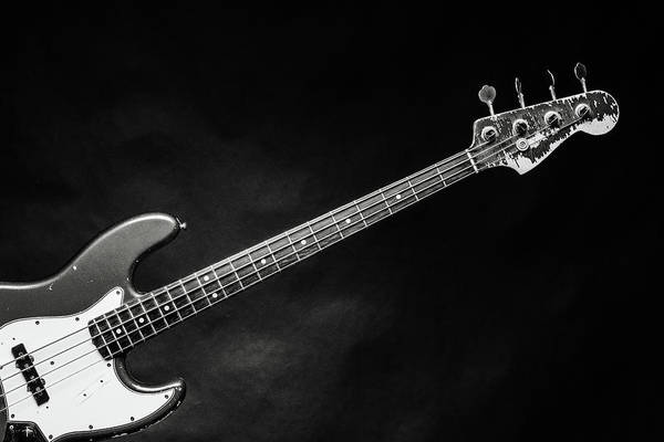 Photograph - 371.1834 Fender Red Jazz Bass Guitar In Bw by M K Miller
