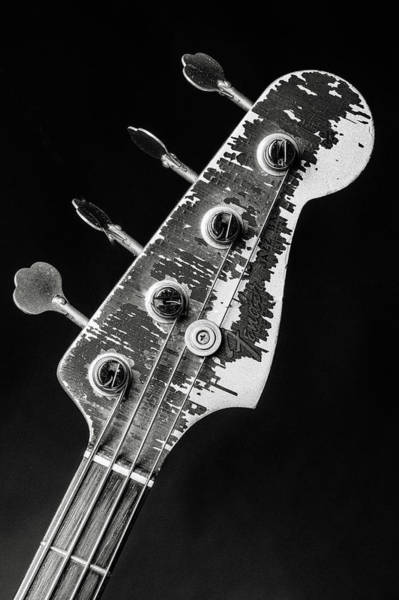 Photograph - 373.1834 Fender Red Jazz Bass Guitar In Bw by M K Miller