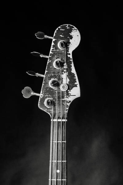Photograph - 375.1834 Fender Red Jazz Bass Guitar In Bw by M K Miller
