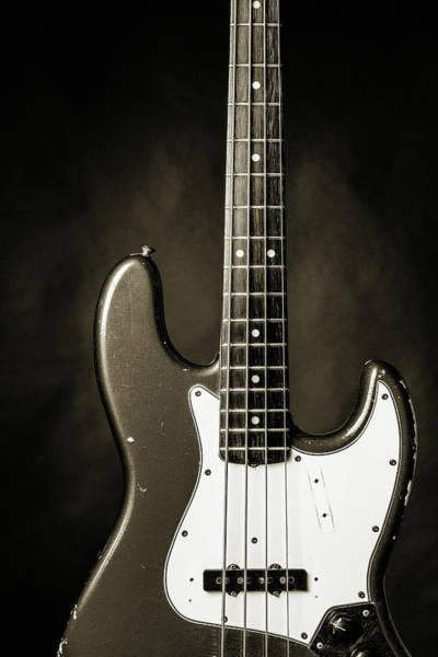 Photograph - 378.1834 Fender Red Jazz Bass Guitar In Bw by M K Miller