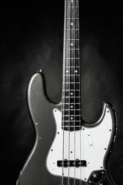 Photograph - 379.1834 Fender Red Jazz Bass Guitar In Bw by M K Miller