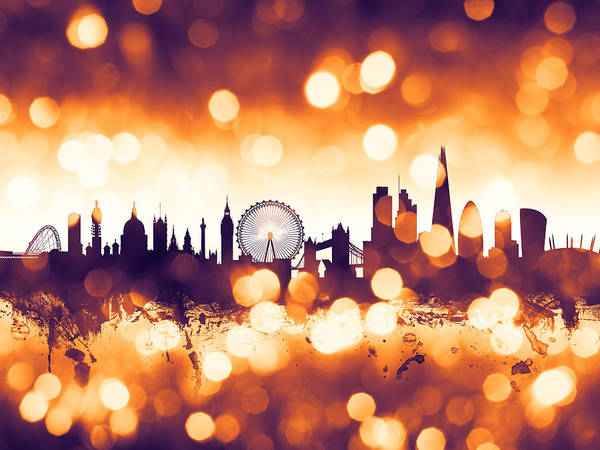 Bokeh Digital Art - London England Skyline by Michael Tompsett