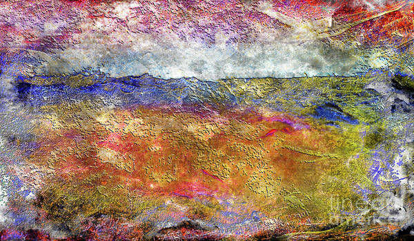 Painting - 39a Abstract Landscape Sunset Over Wildflower Meadow by Ricardos Creations