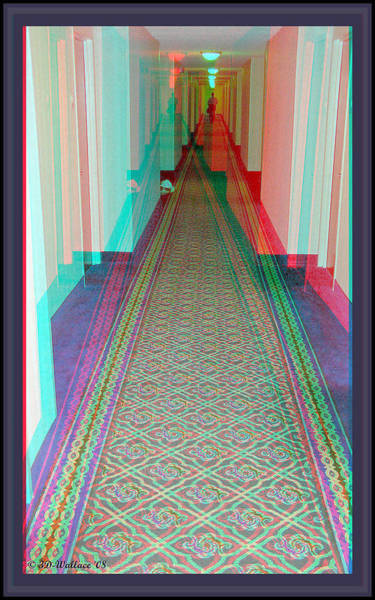 Anaglyph Photograph - 3d Hotel Hallway by Brian Wallace