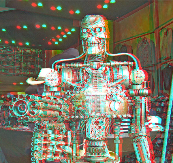 Anaglyph Photograph - 3d Robot by Joel Gilgoff