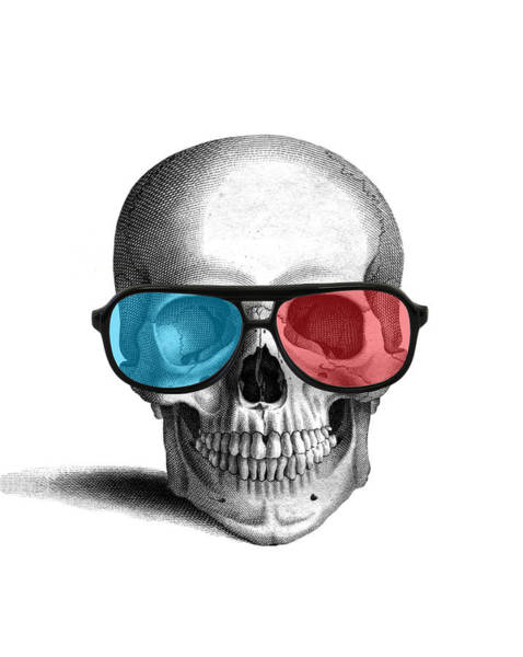 Anatomy Digital Art - skull with 3D glasses by Madame Memento