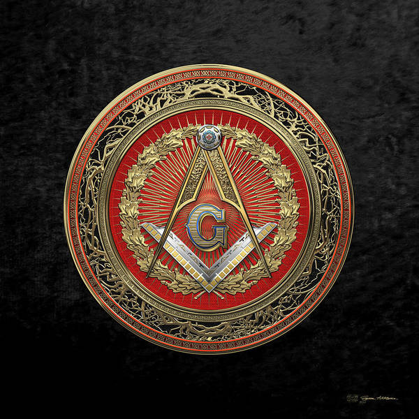 Digital Art - 3rd Degree Mason Gold Jewel - Master Mason Square And Compasses Over Black Velvet by Serge Averbukh