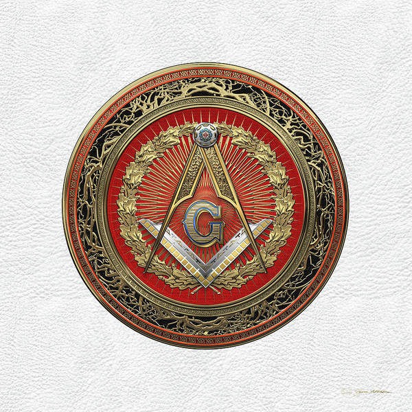 Digital Art - 3rd Degree Mason Gold Jewel - Master Mason Square And Compasses Over White Leather by Serge Averbukh