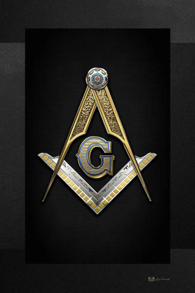 Digital Art -  3rd Degree Mason - Master Mason Jewel On Black Canvas by Serge Averbukh