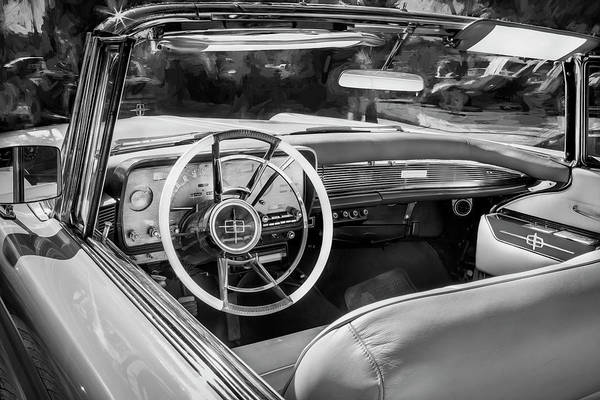 Wall Art - Painting - 1959 Lincoln Continental Town Car Mk Iv Painted Bw by Rich Franco