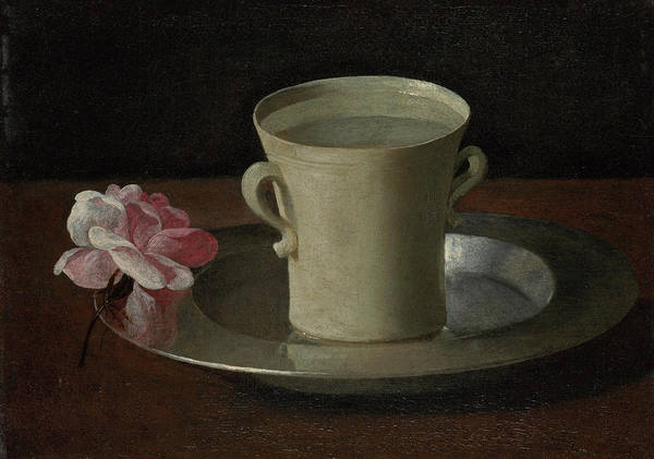 Object Painting - A Cup Of Water And A Rose by Francisco de Zurbaran