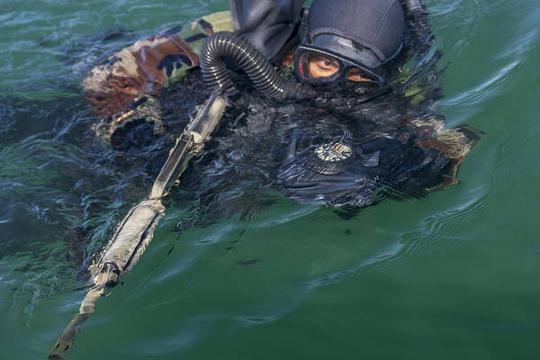 Navy Seal Photograph - A Navy Seal Combat Swimmer by Michael Wood