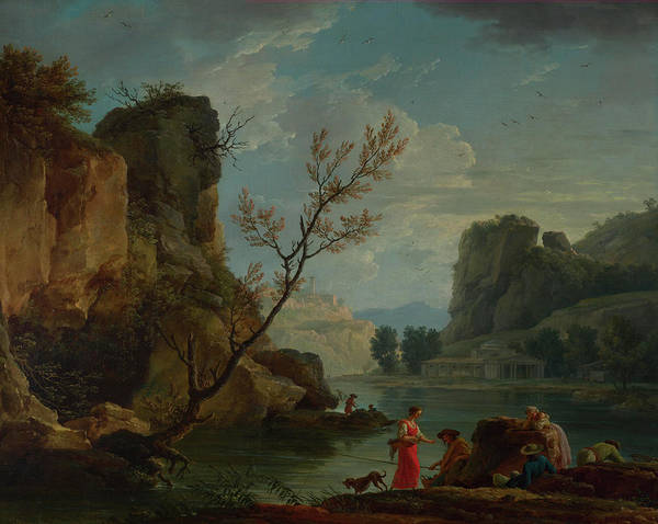 Waterway Painting - A River With Fishermen by Claude-Joseph Vernet
