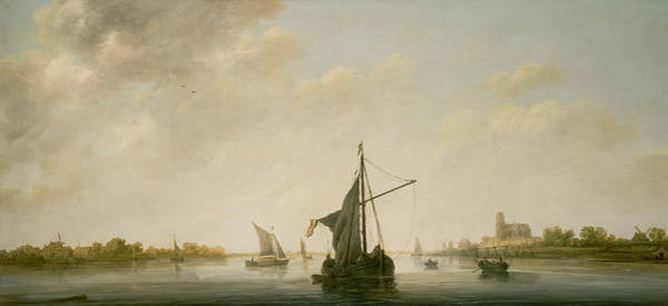 Cuyp Wall Art - Painting - A View Of The Maas At Dordrecht by Aelbert Cuyp