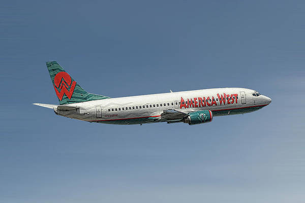 America Mixed Media - America West Boeing 737-300 by Smart Aviation