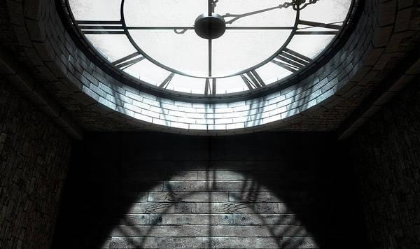 Fleur Digital Art - Antique Backlit Clock by Allan Swart