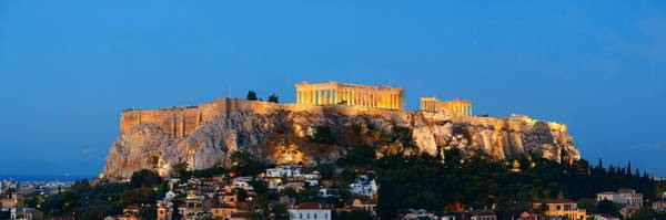 Photograph - Athens Skyline Rooftop Night by Songquan Deng