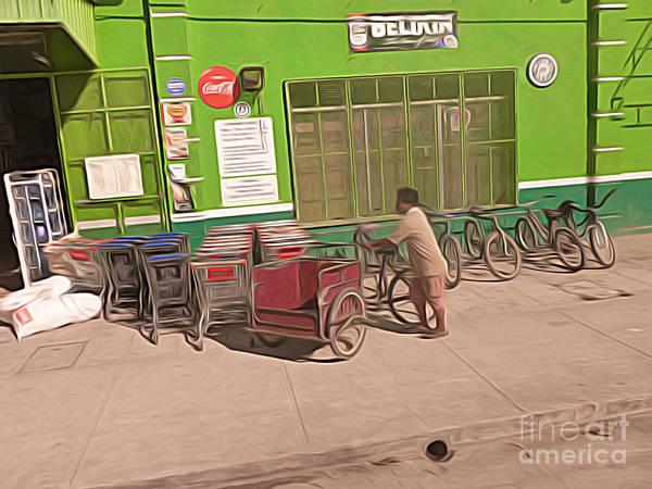 Belize Digital Art - Belize - Green Market Bicycles by Jason Freedman