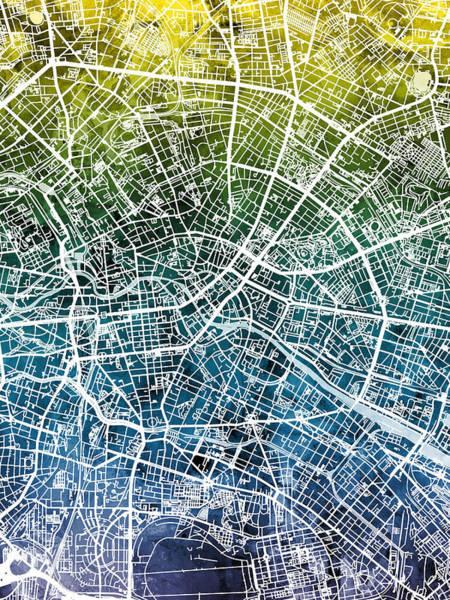 Wall Art - Digital Art - Berlin Germany City Map by Michael Tompsett