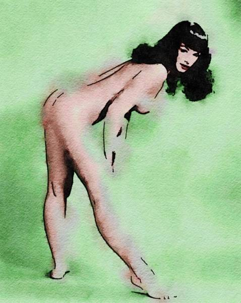 Bottom Painting - Bettie Page By Frank Falcon by Frank Falcon