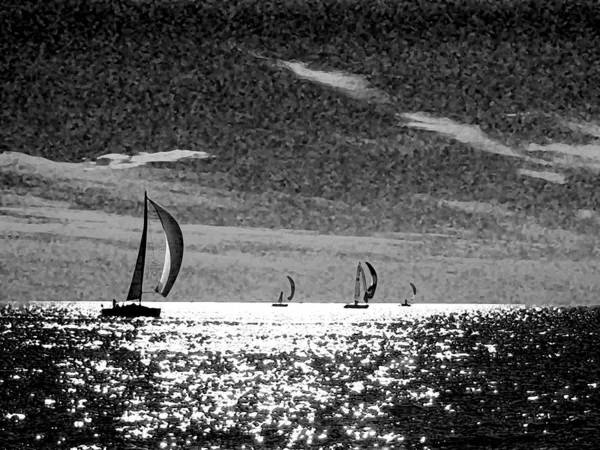 Photograph - 4 Boats On The Horizon Bw by Michael Thomas