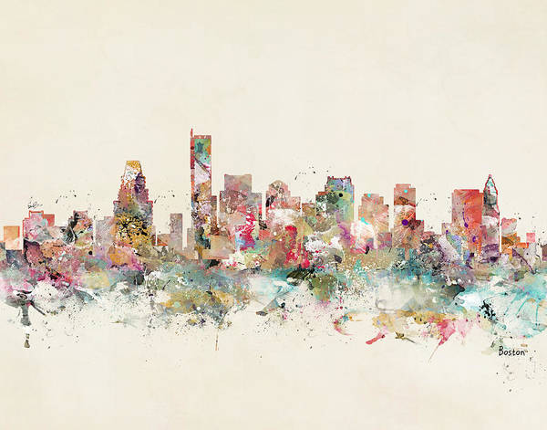 Throws Painting - Boston City Skyline by Bri Buckley