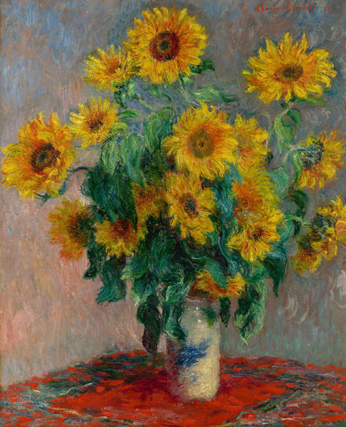 French Painter Wall Art - Painting - Bouquet Of Sunflowers by Claude Monet