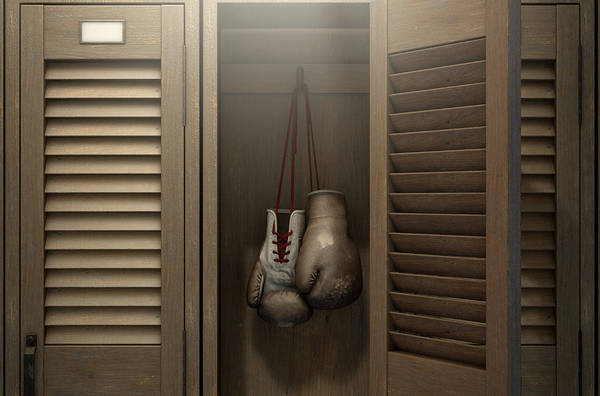 Wall Art - Digital Art - Boxing Gloves In Vintage Locker by Allan Swart