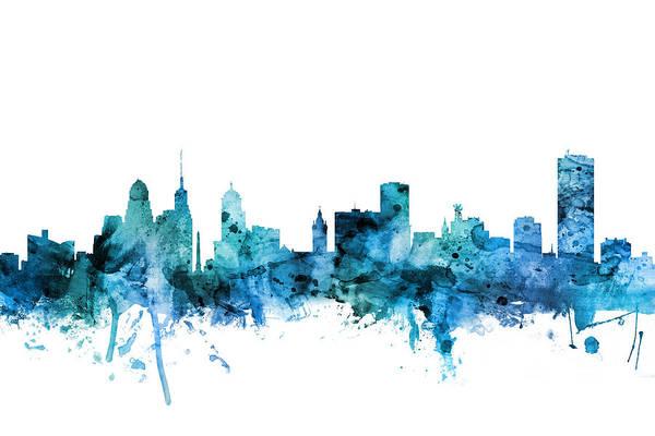 Wall Art - Digital Art - Buffalo New York Skyline by Michael Tompsett