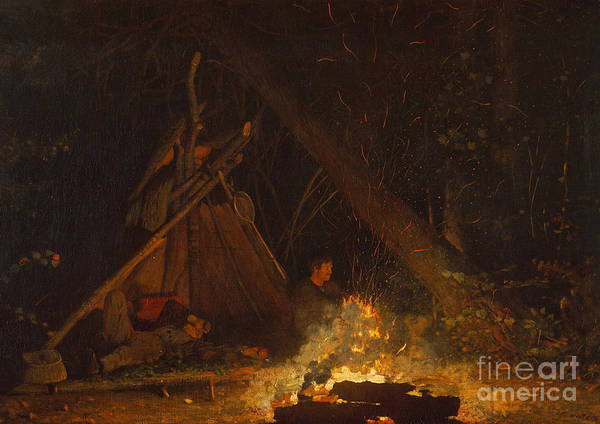 Upstate New York Painting - Camp Fire by Winslow Homer