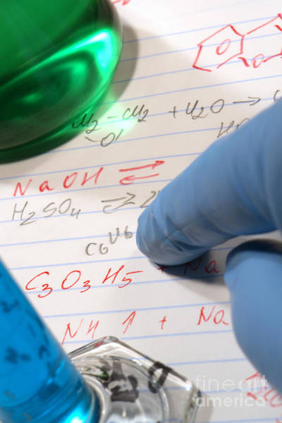 Wall Art - Photograph - Chemistry Formulas In Science Research Lab by Olivier Le Queinec