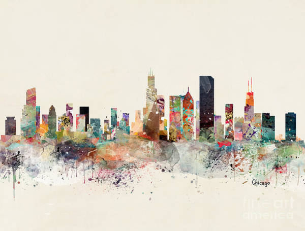 Wall Art - Painting - Chicago Illinois Skyline by Bri Buckley