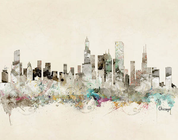 Watercolour Landscape Painting - Chicago Illinois Skyline by Bri Buckley