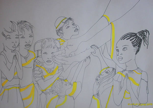 Painting - Children Coming To Jesus by Gloria Ssali
