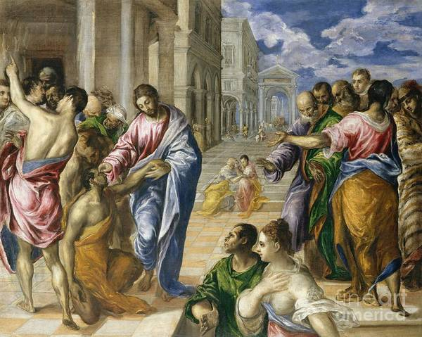 Heal Wall Art - Painting - Christ Healing The Blind by El Greco