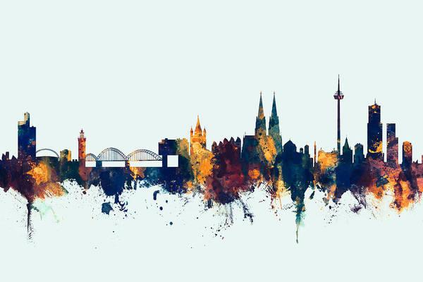 Wall Art - Digital Art - Cologne Germany Skyline by Michael Tompsett