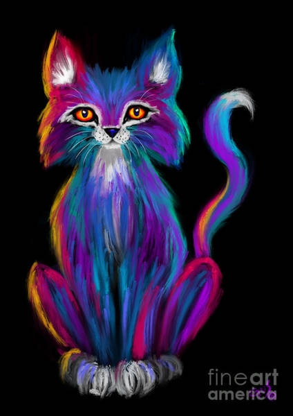 Wall Art - Painting - Colorful Cat by Nick Gustafson