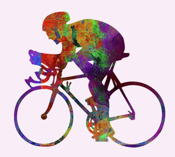 Sportsman Digital Art - Cyclist by Elena Kosvincheva