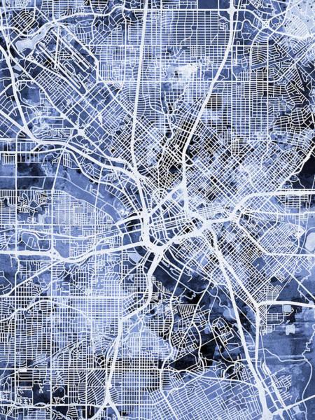 Texas Digital Art - Dallas Texas City Map by Michael Tompsett