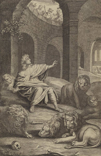 Perilous Wall Art - Painting - Daniel In The Lions' Den by English School