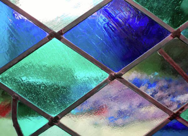 Photograph - Diamond Pane Glass Blue by JAMART Photography