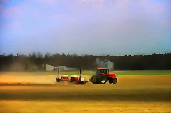 Ploughing Painting - Red Tractor On The Farm by Dan Sproul