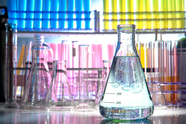 Flask Wall Art - Photograph - Equipment In Science Research Lab by Olivier Le Queinec
