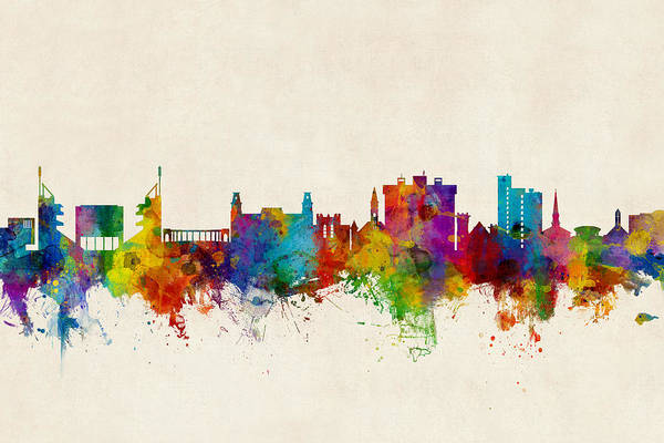 Arkansas Wall Art - Digital Art - Fayetteville Arkansas Skyline by Michael Tompsett
