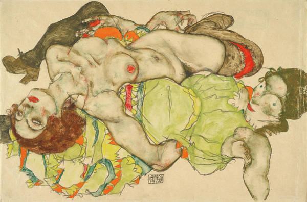 Having Sex Painting - Female Lovers by Egon Schiele