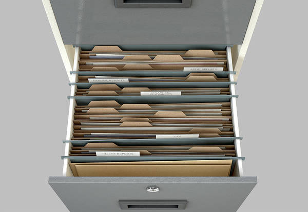 Wall Art - Digital Art - Filing Cabinet Drawer Open Tax by Allan Swart